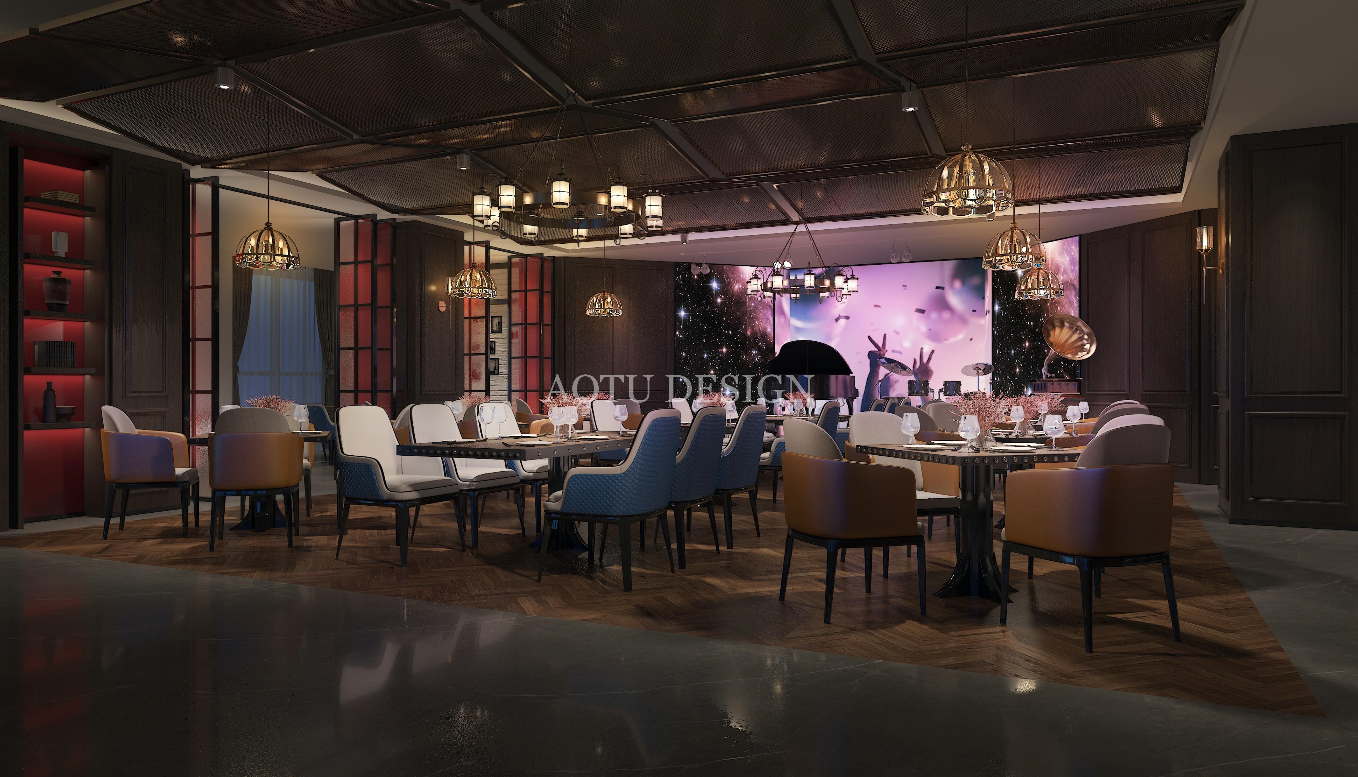 郑州二七溪云酒店餐厅设计效果图