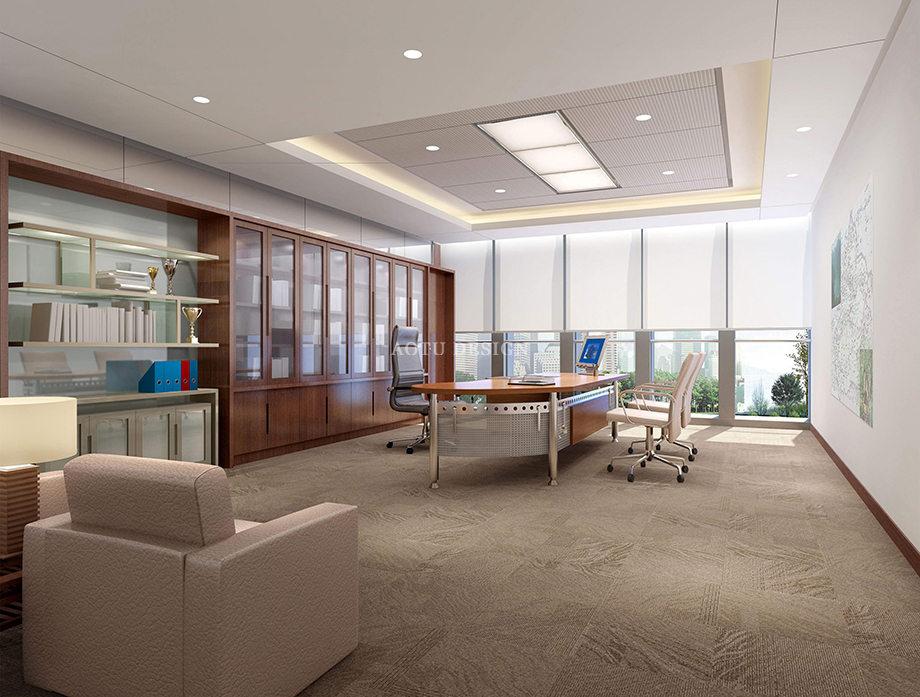领导办公室设计-汝州集团办公楼设计方案效果图