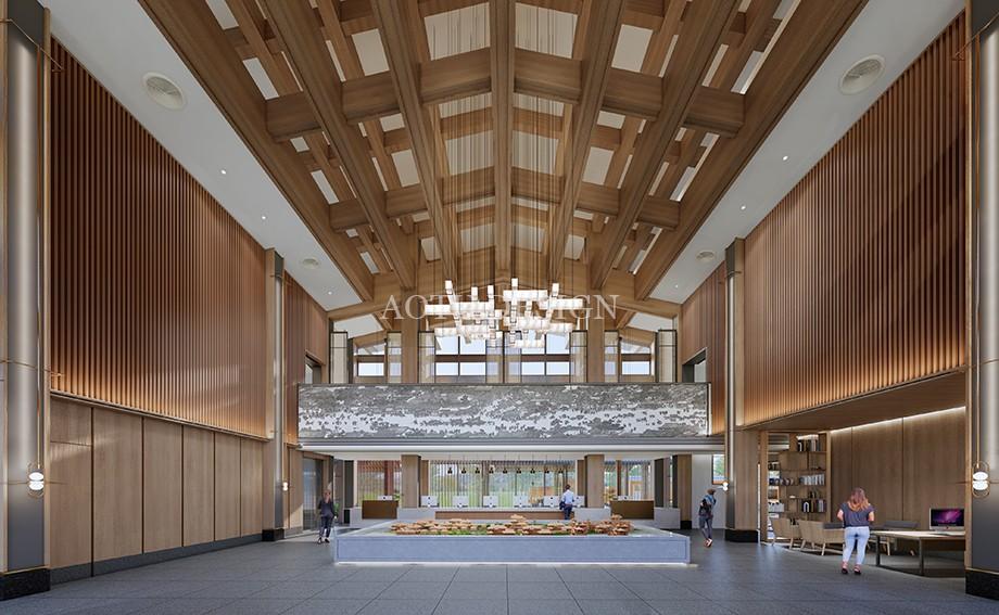 接待大厅设计-沙盘展示区设计-开封佘店旅游区接待中心设计效果图-凹凸设计