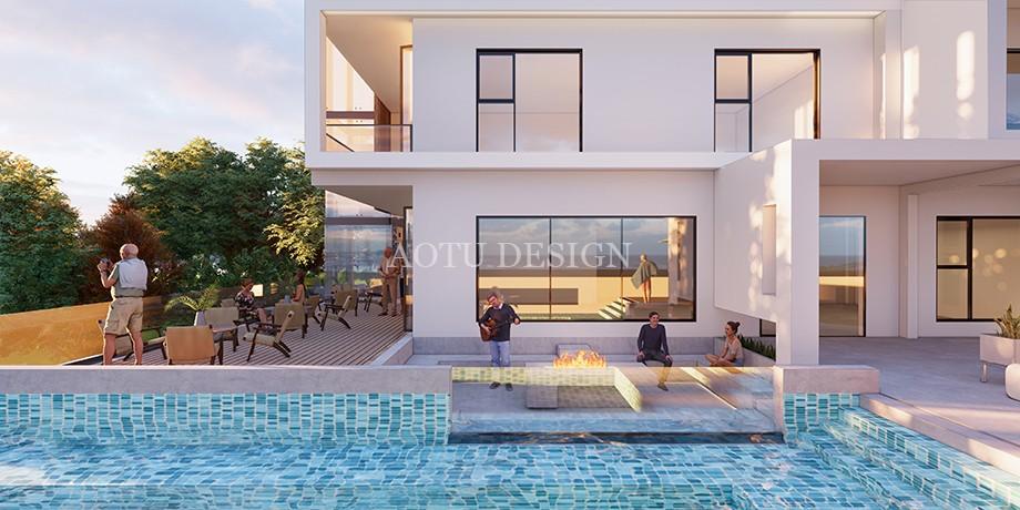 洛阳民宿设计公司-观澜山水民宿泳池设计方案效果图