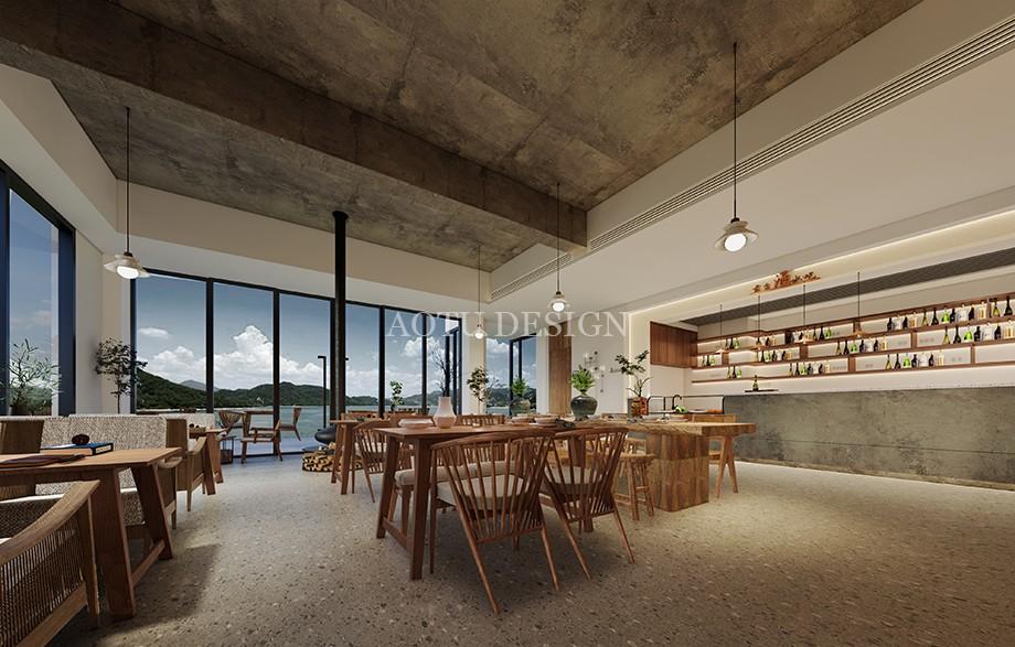 洛阳民宿设计公司-观澜山水民宿餐厅设计方案效果图