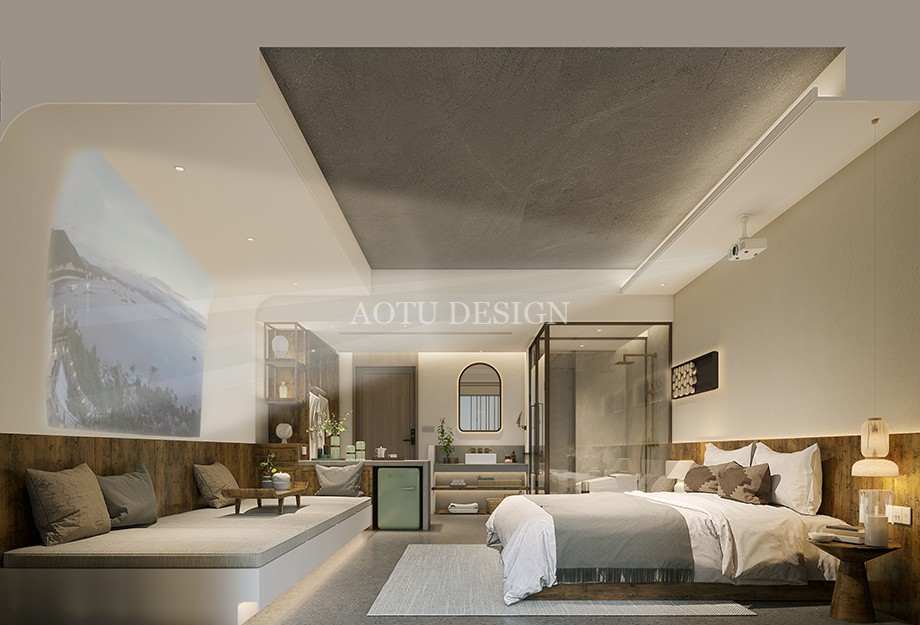 洛阳民宿设计公司-观澜山水民宿客房设计方案效果图